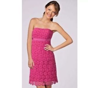 Lilly Pulitzer Bowen Pink Lace Strapless Dress 10